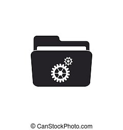 Settings folder with gears icon isolated. Flat design. Vector Illustration