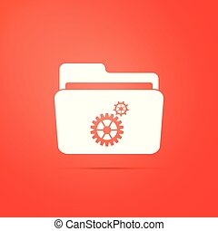 Settings folder with gears icon isolated on orange background. Flat design. Vector Illustration