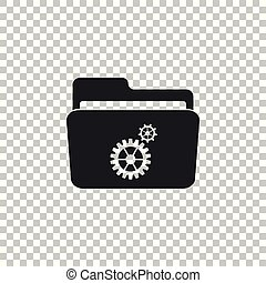 Settings folder with gears icon isolated on transparent background. Flat design. Vector Illustration