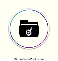 Settings folder with gears icon isolated on white background. Circle white button. Vector Illustration