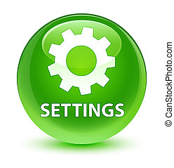 Settings glassy green round button