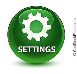 Settings glassy soft green round button