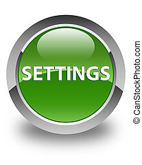 Settings glossy soft green round button