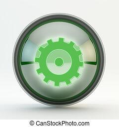 Settings green Glass Button