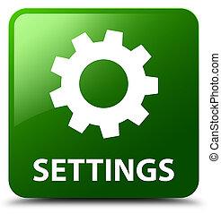 Settings green square button