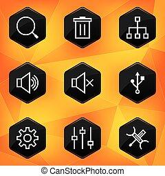 Settings. Hexagonal icons set on abstract orange background