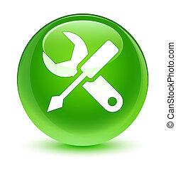 Settings icon glassy green round button