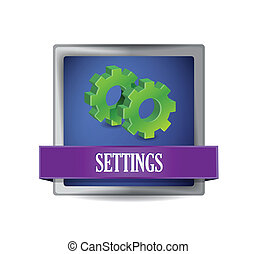 settings icon glossy blue button illustration