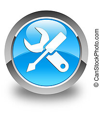 Settings icon glossy cyan blue round button
