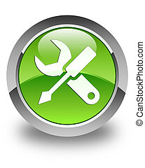 Settings icon glossy green round button