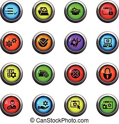 settings icon set - settings icons on color round glass ...