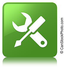 Settings icon soft green square button