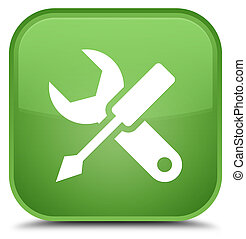 Settings icon special soft green square button