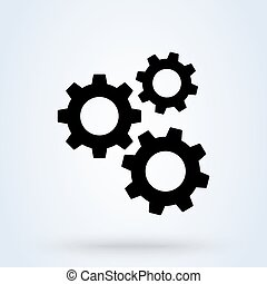 Settings icon with additional gears icon, vector illustration.