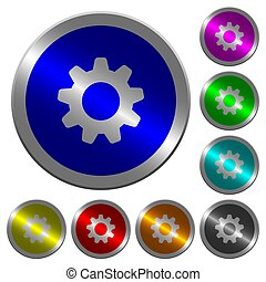 Settings luminous coin-like round color buttons