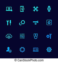 settings, options icons set with gears, vector