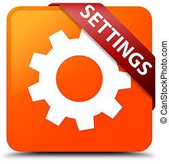 Settings orange square button red ribbon in corner