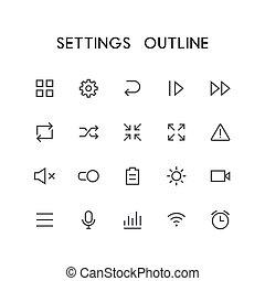 Settings outline icon set