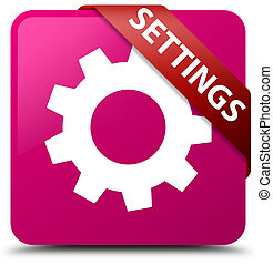 Settings pink square button red ribbon in corner