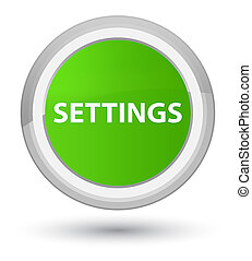 Settings prime soft green round button
