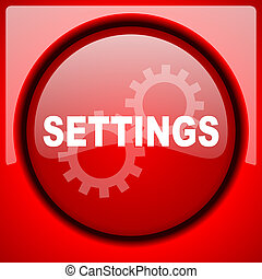 settings red icon plastic glossy button