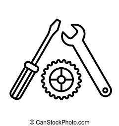 Settings, Screwdriver, Wrench and gear icon vector. Tool icon isolated on white. Service symbol. Flat contour icon.