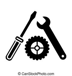 Settings, Screwdriver, Wrench and gear icon vector. Tool icon isolated on white. Service symbol. Flat solid icon.