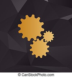 Settings sign illustration. Golden style on background with polygons.