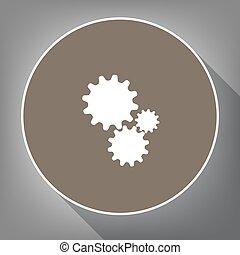 Settings sign illustration. Vector. White icon on brown circle with white contour and long shadow at gray background. Like top view on postament.