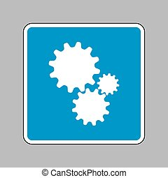 Settings sign illustration. White icon on blue sign as backgroun