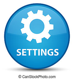 Settings special cyan blue round button