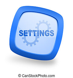 settings square glossy blue web design icon