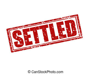 Settled-stamp - Grunge rubber stamp with word Settled...