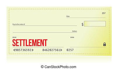 settlement bank check illustration design over white background