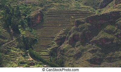 Settlement Below Terraced Mountain, Andes, Peru - Medium...