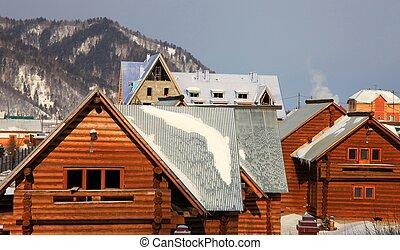 Settlement - Group of houses. Listvyanka settlement, Lake...