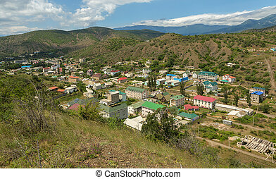 Settlement in the mountains of Crimean peninsula