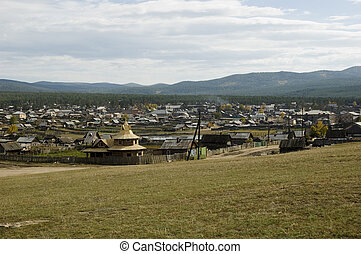 Settlement Khuzhir - Russia. Siberia. Baikal - fresh-water...
