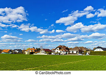 settlement of houses - a housing estate of detached houses...