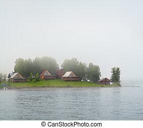 lake island in fog