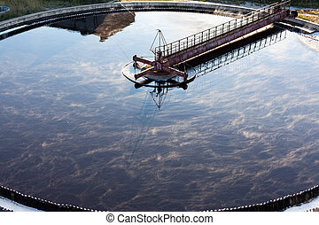 Settler in water treatment plant - Close up of settler in ...