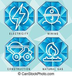 settore, energia, set, icona