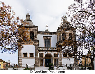 Setubal, Portugal - 18 December 2020: view of the San Sebastiao Catholic Church in Setubal