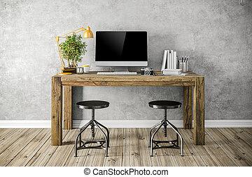 setup, moderno, posto lavoro, render, 3d