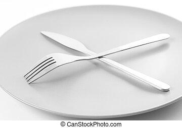 plate, fork & knife