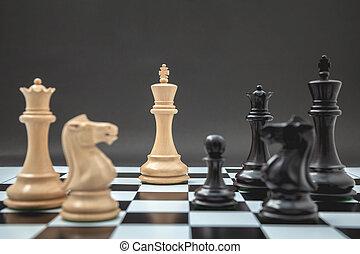 setup, re, cavaliere nero, fondo, scacchi, scuro, scacchiera...