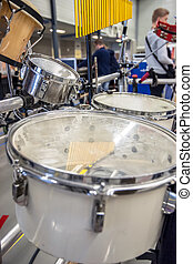 Setup With different rhythm percussion instruments on a stand