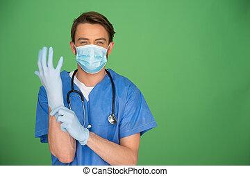 setzen, chirurgische handschuhe, doktor
