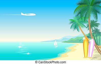 setzen sand strand, handfläche, motorflugzeug, landschaft., paradies, tropischer baum, sonnig, text, hintergrund, meer, wasserlandschaft, kueste, abbildung, surfboards., vektor