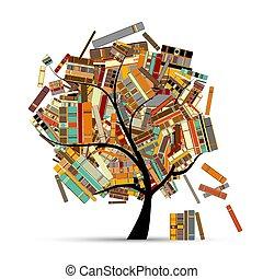 seu, árvore, desenho, livros, biblioteca